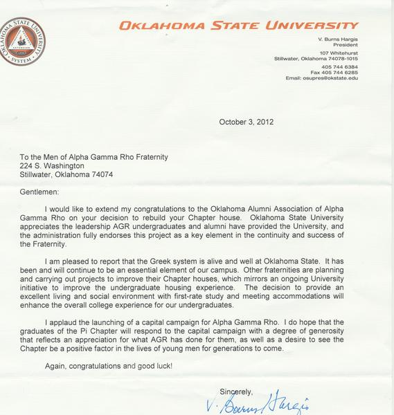 Letter from President Hargis to Alpha Gamma Rho