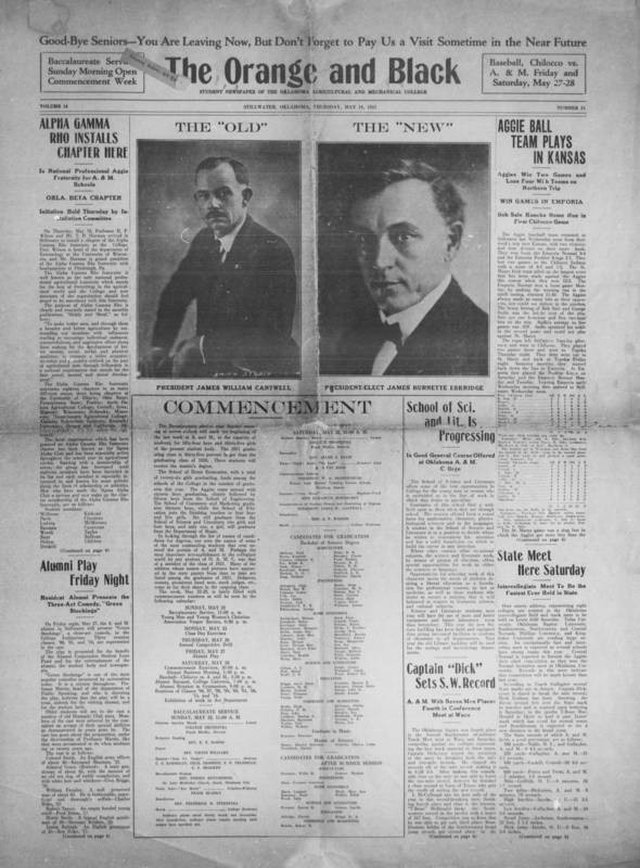 The Orange and Black, OSU Student Newspaper, May 19, 1921 - Courtesy OSU Special Collections and Archive