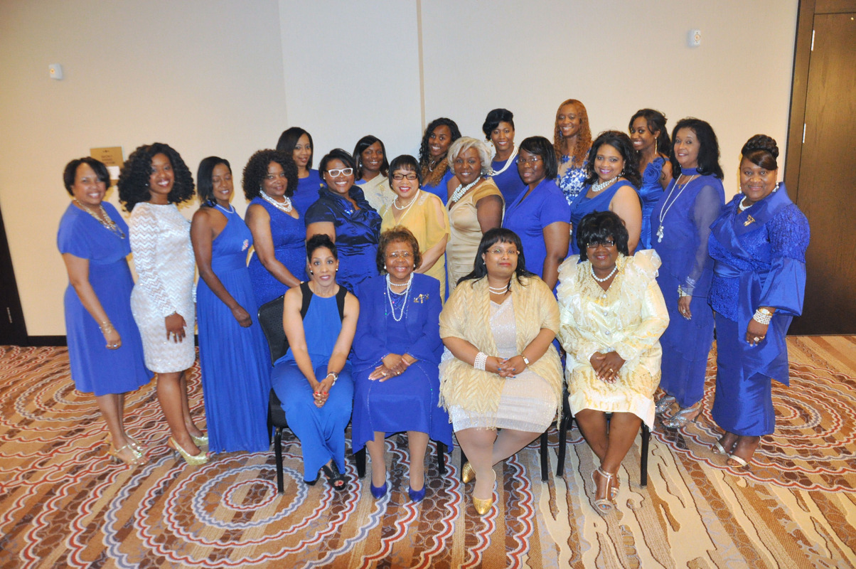ladies in blue and gold