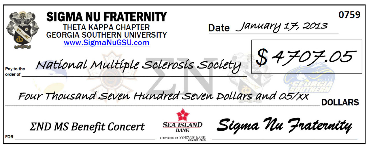 Sigma Nu Check to National Multiple Sclerosis Society, Georgia Chapter