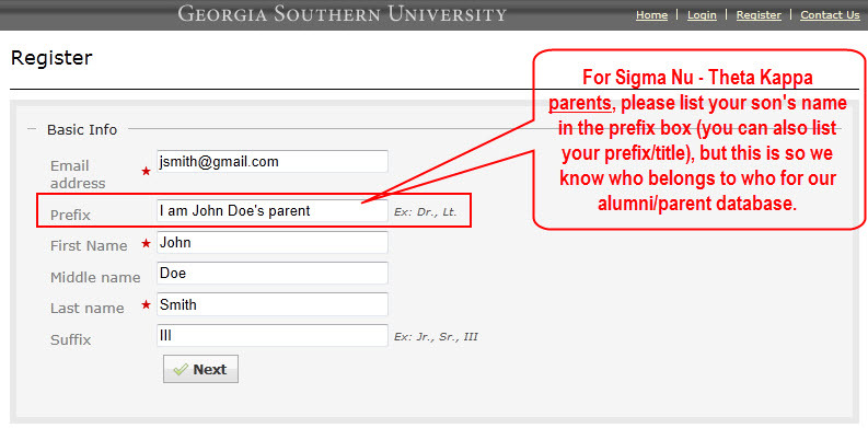 Parent Registration