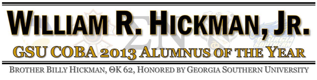 Billy Hickman, 2013 GSU COBA Alumnus of the Year