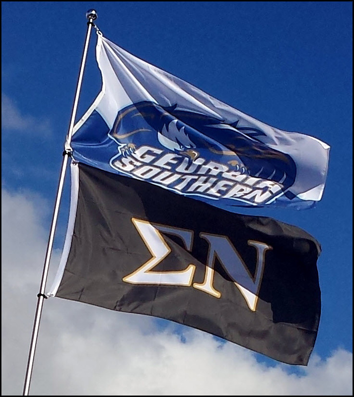 Georgia Southern and Sigma Nu Flags fly high