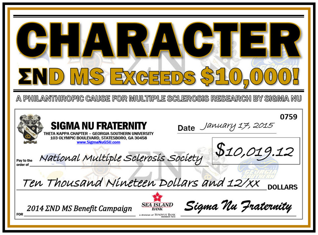Congratulations Theta Kappa and friends for surpassing the $10,000 Fundraising Milestone for ΣND MS!