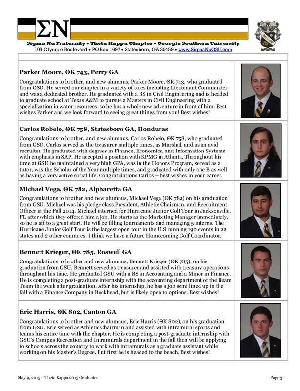 Theta Kappa Graduates 5 Brothers in Spring 2015