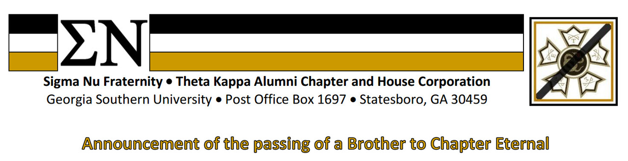 Passing to Chapter Eternal of a Brother