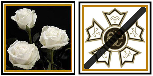 Three Whites Roses next to the Draped Badge