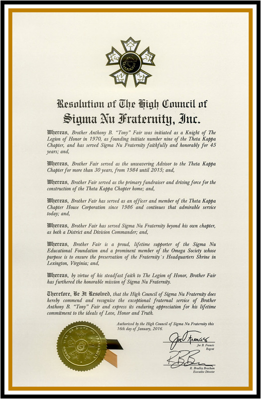 Sigma Nu High Council Certificate of Commendation