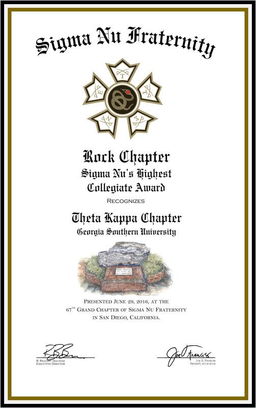 Theta Kappa (GSU) is a Sigma Nu Rock Chapter