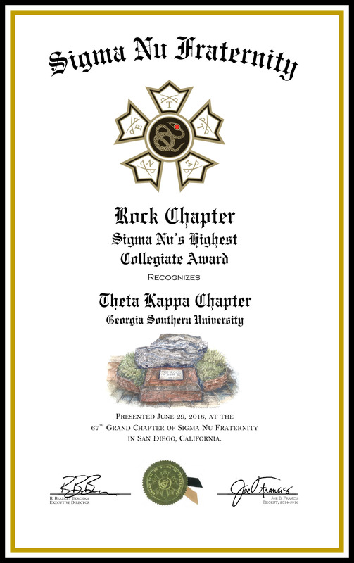 Theta Kappa (GSU) is a Sigma Nu Rock Chapter