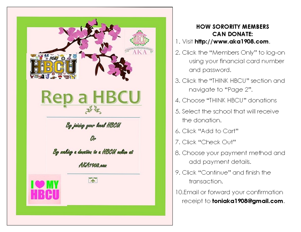 Instructions for How Sorority Members Can Support the Think HBCU initiative