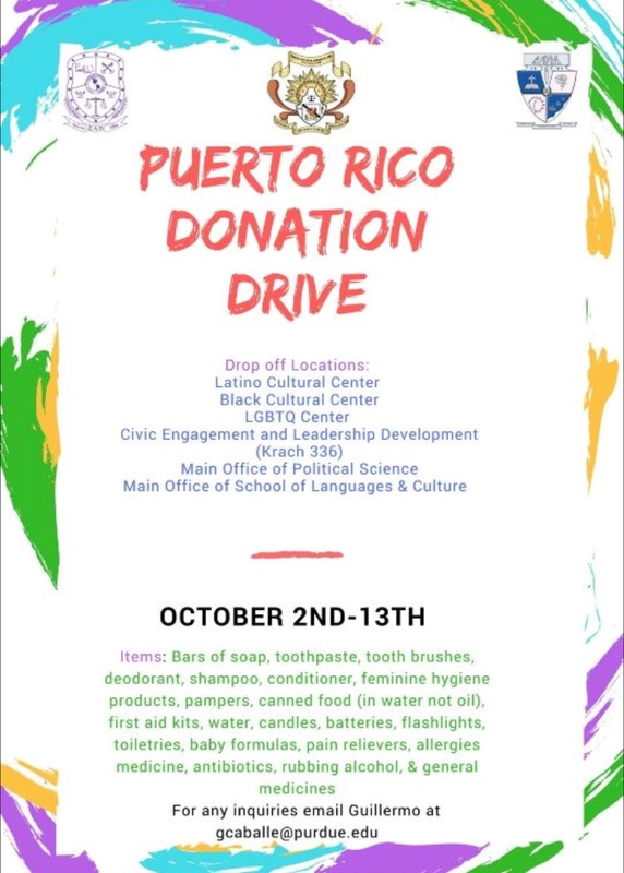 Make donations that will go to aid those in Puerto Rico!  Needed items and donation locations are listed on flier.