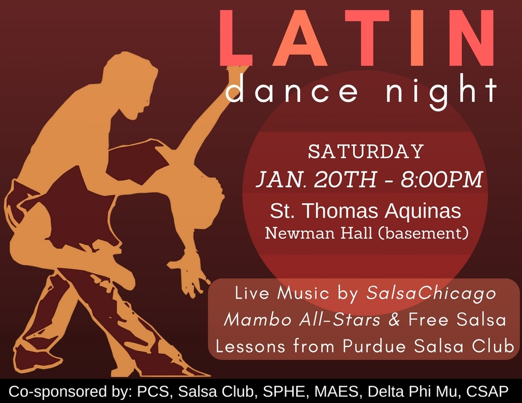 Come learn the basics and enjoy the company of several LatinX organizations on campus! Not only will your dancing skills improve but as will your networking skills!  Event will take place at St. Thomas Aquinas in Newman Hall.