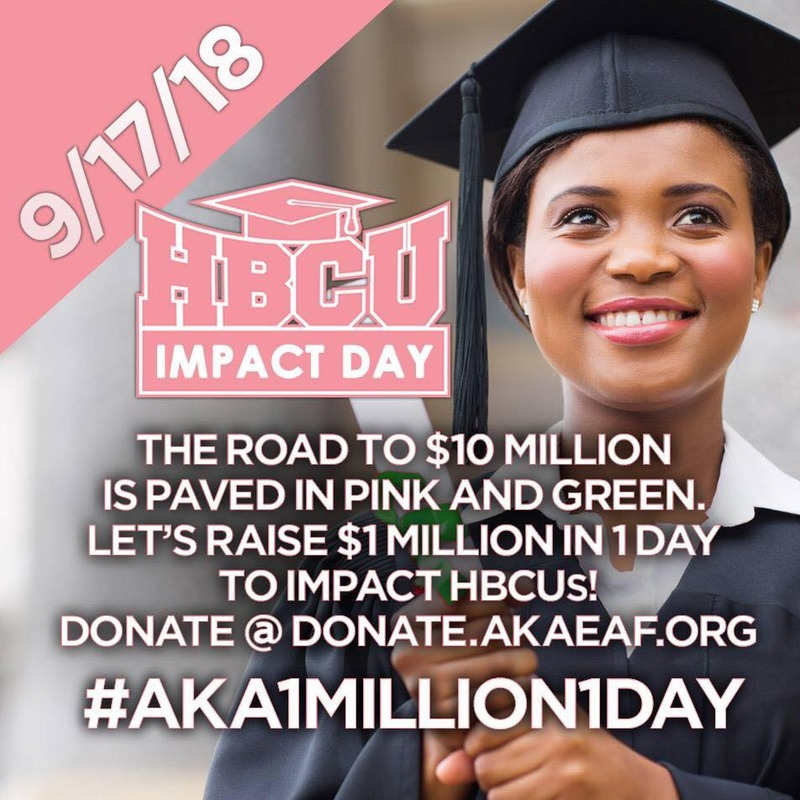 HBCU Impact Day - 2018; gives details about the 9/16/2018 event to raise $1 Million dollars for historically Black colleges and universities