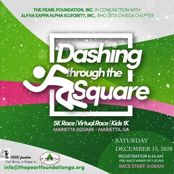 Dashing Through the Square Race flyer; includes time and place details and stylized image of a person running