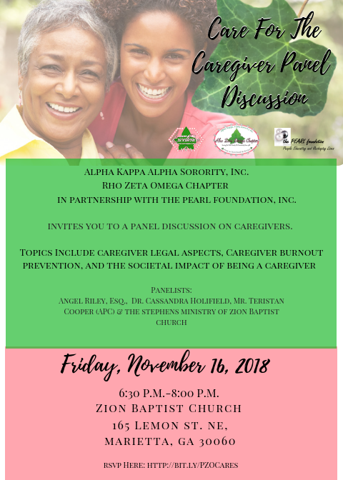 Caregiver Panel Discussion Flyer; includes event details