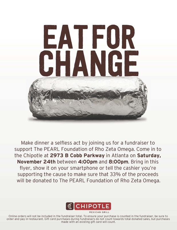Chipotle Dine-Out Flyer, includes time and place details