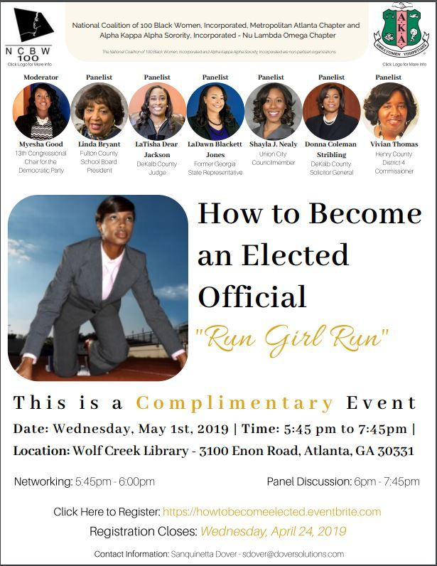 Does your political landscape look and represent you? Do you know how to get involved in the political process? Need answers? If you are ready to change the face of Government at every level, then you will want to attend this informative panel discussion on women in politics. Brought to you by the women of Alpha Kappa Alpha Sorority, Inc. Nu Lambda Omega Chapter and The National Coalition of 100 Black Women, Inc. - The Metropolitan Atlanta Chapter; this candid discussion will allow you to get up close and personal with women who have and or currently hold public office.