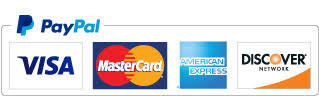 Image depicts the four credit card types accept by PaPal - Visa, MasterCard, American Express and Discover Network