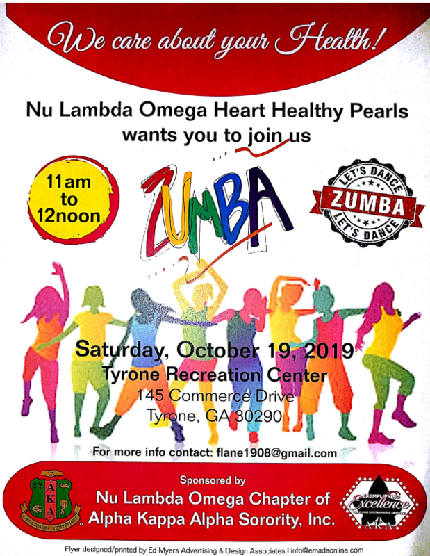 Sorors,  Target II/ Nu Lambda Omega Heart Healthy Pearls  wants you to join us for a morning of Zumba at:    The Tyrone Recreation Center  October  19, 2019  11 am til 12 noon  Let's dance the pounds away as we get Heart healthy.  Please invite your family and friends.  Rsvp @ flane1908@gmail.com.