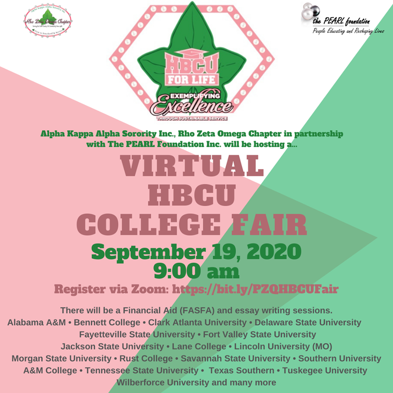 Virtual HBCU Fair; stylized image depicts the HBCU for Life logo and details for registration website